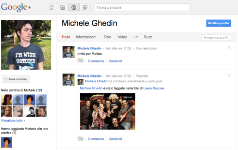 Pane e Social Media profilo Google +